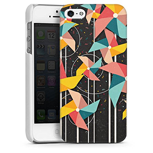 Apple iPhone 5s Housse Étui Protection Coque Éolienne Motif Motif CasDur blanc