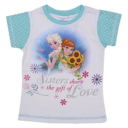 T-shirt frozen elsa e anna disney estivo manica corta maglietta 2/8 anni d50247verde