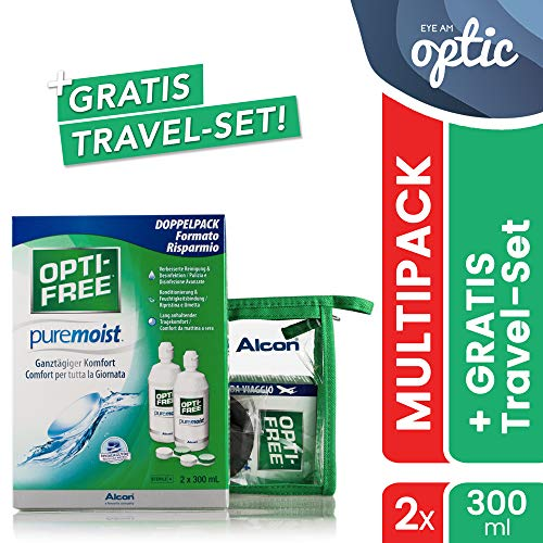 Alcon Optifree Puremoist 2x300ml Kontaktlinsen-Pflegemittel inkl. Reise-Set 90ml (Opti-Free)