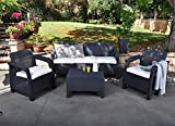 Keter Corfu Outdoor 5-Seater Garden Lounge Set - Graphite with Mushroom Cushions