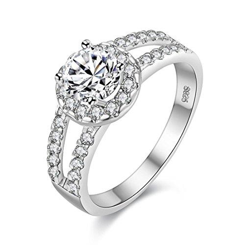 Uloveido Platin überzogener weißer Zirkonia-Ring, 2-reihiger Rundschnitt Ewigkeit Band Ring Silber Farbe Einzigartige Braut Hochzeitstag Schmuck Ring für Frau Mädchen J510 - Frauen Hochzeit-band-ring Für