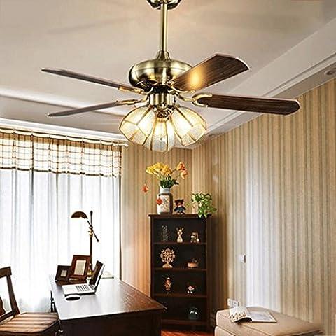 Americana hoja de luz de techo ventilador de luces ventilador restaurante sencillo candelabro retro LED