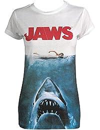 Jaws Film Tshirt - Womens Shark Jaws Tee Shirt - Dames Film Affiche Sublimation Impression Teeshirt Grand - Eur 40 Blanc