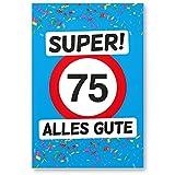 DankeDir! 75 Alles Gute - Kunststoff Schild (Blau), Geschenk 75. Geburtstag, Geschenkidee Geburtstagsgeschenk Fünfundsiebzigsten, Geburtstagsdeko/Partydeko / Party Zubehör/Geburtstagskarte