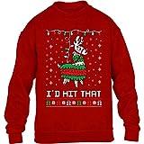 Shirtgeil Lama pignatta di Natale - Ugly X-mas Game Maglione per Bambini e Ragazzi 5-6 Anni (110-116cm) Rosso