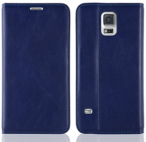 JAMMYLIZARD | Custodia in pelle Flip Cover per Samsung Galaxy S5, BLU SCURO