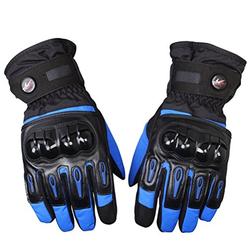 Bonnoeuvre Par Guante de moto Impermeable Guantes Dedo Completo PU Proteccion para Moto Bici Motocicleta Motorista puede pantalla táctil guantes de esquí (XXL, Azul)