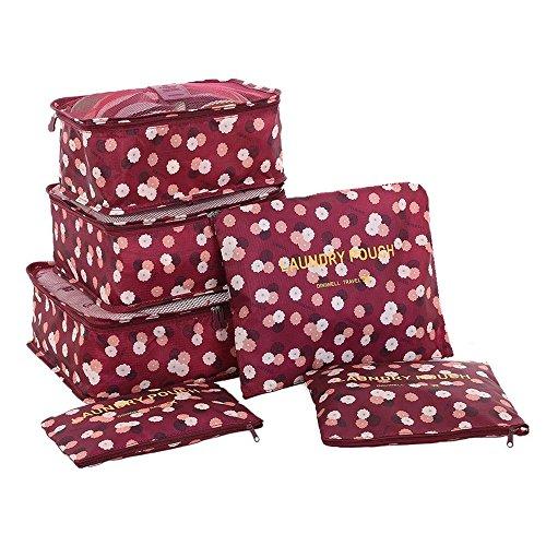 20f7ee817de6 Set Sac Organisateur Voyage 6 Pièces Tailles Variées Cube Emballage Bagages  Rangement Valise Trousse de Toilette
