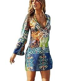 JOTHIN Damen Drucken Chiffon Deep V-ausschnitt Langarm Knielang Kurz Kleid  Strandkleider-Form Shirt S M… a7ef5a3590