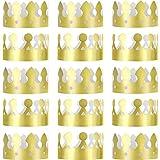 Jovitec 24 Piezas de Corona de Rey Dorada Corona de Papel Metálico Dorado de Fiesta Gorro de Corona para Celebración de Cumpleaños Apoyos de Foto de Bienvenida a Bebé