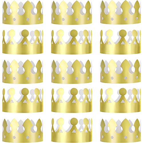 Jovitec 24 Stück Goldene König Kronen Goldfolie Papier Party Krone Hut Kappe für Geburtstagsfeier Baby Dusche Foto Requisiten (Der Kleine Prinz Geburtstag Kostüm)