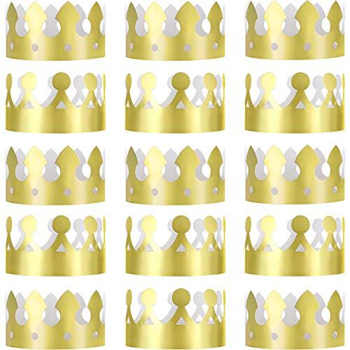 Jovitec 24 Piezas Corona Rey Dorada Corona Papel Metálico