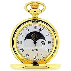 Personalised Gold Plated Sun and Moon Pocket Watch (Engraved Free)