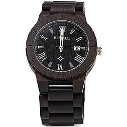 Bewell ZS - W109B Wood Men Watch Luminous Pointer Wooden Band Date Wristwatch