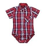 Freebily Unisex Baby Kurzarm-Body Kaiertes Hemd Sommer Strampler aus Baumwolle für 3-24 Monate Rot 92/24 Monate