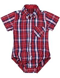 Freebily Camisa de Cuadros Solapa para Bebés Unisex Manga Corta Blusa Mameluco de Recién Nacidos de 3-24 Meses