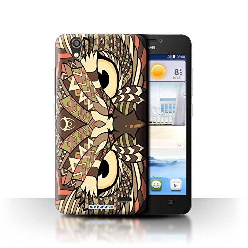 Stuff4 Hülle / Hülle für Huawei Ascend G630 / Eule-Sepia Muster / Aztec Tier Muster Kollektion