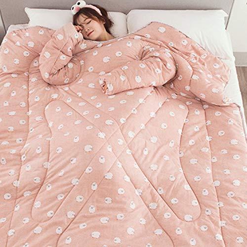 Y56 120cmX160cm TV-Decke Frauen Winter Lazy Quilt with Sleeves Steppdecke Decke mit Ärmeln Steppdecke Warm Thickened Washed Quilt Blanket Decke Schlafsack Faul Kuscheldecke Geschenk (Pink)