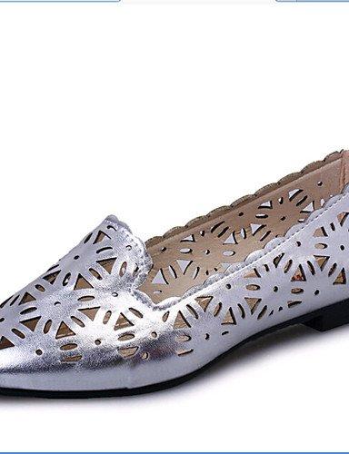 XAH@ Chaussures Femme-Extérieure / Bureau & Travail / Habillé / Décontracté-Rose / Blanc / Argent-Talon Plat-Bout Pointu-Plates-PU white-us8 / eu39 / uk6 / cn39