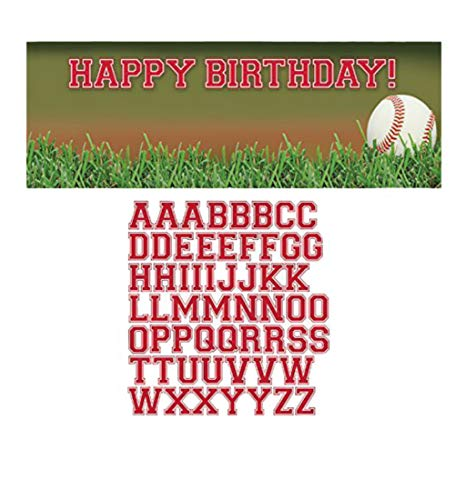 Creative Converting Sports Fanatic Baseball GIANT Party Banner mit Aufkleber, multicolor mehrfarbig