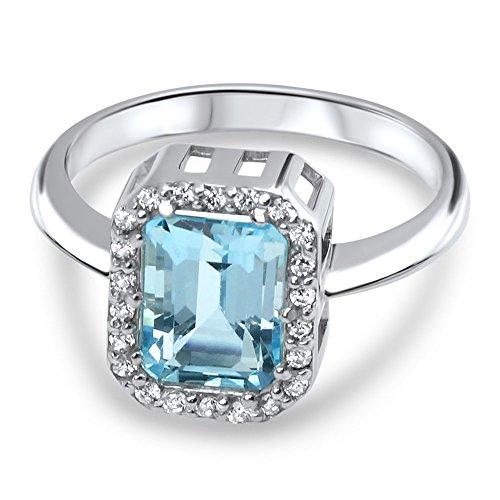 aion Damen Solitär-Ring echt 2 ct Aquamarin 925 Sterling-silber Aquamarin-ring weiß vergoldet 22 weiße Zirkonia grösse 48 bis 62 (57 (18.1))