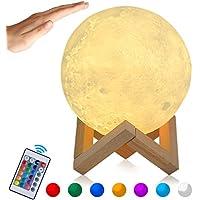 Lampe Lune 3D, Veilleuse LED Lampe Lune 15CM avec Télécommande, Lampe de nuit RGB Moonlight avec Interrupteur Tactile Gradable à Piles, avec Minuterie, USB Rechargeable