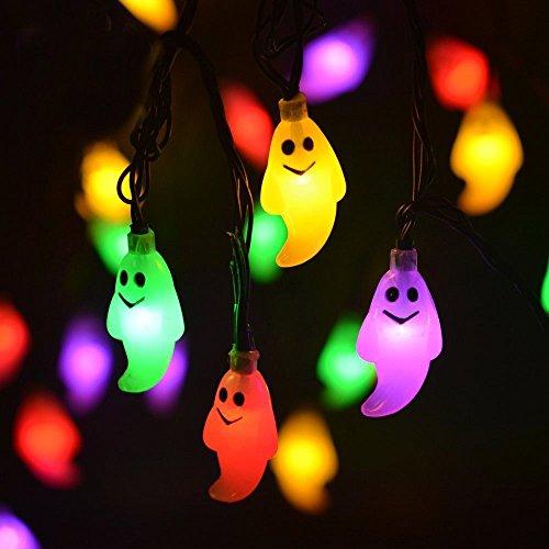 LEEHUR- Led Globe Lichterkette, 20 LEDs 2.3M/7.2ft LED Lichterkette Bunt 2AA Batteriebetrieben Led Beleuchtung mit 2 Modus für Christmas, Garten, Party Weihnachtsbaum Dekoration (Batterie ist nicht enthalten) (Small ghost) (Kürbis Twinkle)