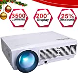 3500 Lumens Vidéoprojecteur HD, Vidéo Projecteur 5.8' LCD Rétroprojecteur Full HD 1080P Supporte, LED 50000 Heures, Projector Home Cinéma Compatible HDMI VGA USB AV TF (Blanc)