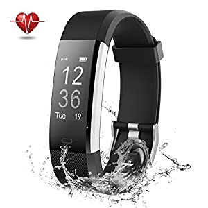 Fitness Tracker, NOVETE Bluetooth 4.0 Heart Rate Monitor Bracelet, IP67 Waterproof, Touch Screen, Wireless Smart Wristband, Pedometer Sports Activity Tracker Smart Watch for Android and IOS Smartphone