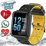 Impermeabile IP68 Fitness Tracker Smart Watch con Bluetooth per nuoto, corsa, caratterizzato da monitor battito cardiaco, pressione sanguigna, monitor del sonno, conteggio passi e davvero un bel regalo di Natale per madre, padre e numeri di f...