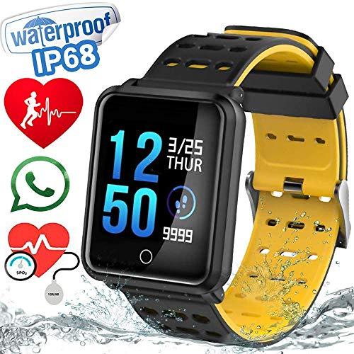 Smartwatch con Pulsómetros Actividad, Letopro Fitness Tracker IP68 Impermeable Monitor de Actividad,Apoyo presión sanguínea de sueño Podómetros Cronómetros SMS Notificación de Llamada (Blanco)