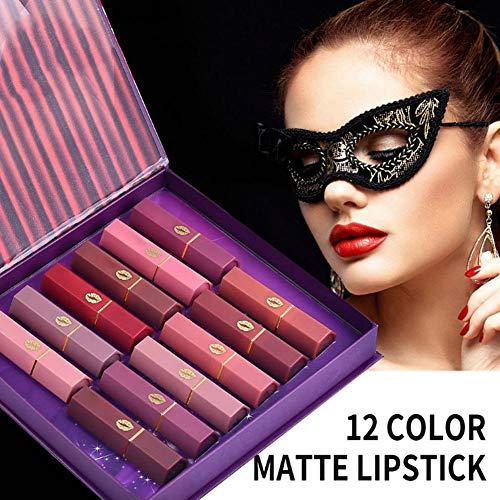 Boîte cadeau rouge à lèvres hydratante mate 12 tons, rouge à lèvres élégant pour le maquillage, ajouter une touche de couleur, rétention durable, alléger la couleur des lèvres et des lèvres