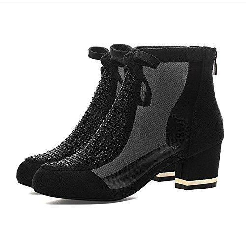Ajunr Sandali Da Donna Alla Moda il nuovo arco jacobs scarpe col tacco alto scarpe stivali estate primavera volgare la moda delle scarpe,black,37