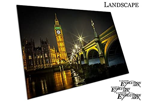 Big Ben Clock Tower Parliament house city of Westminster River Thames London Art - Roll Up Banner Textured Size A4