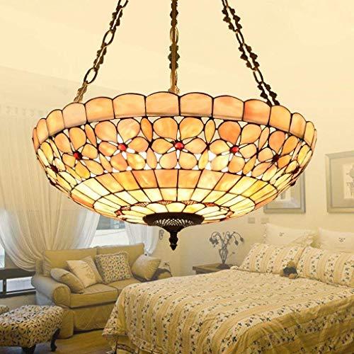 FuweiEncore Garrestaurant Haus des europäischen Stils Studie Tiffany Kronleuchter Anti Artistic Kreativität Blume Perlmutt Zimmer Beleuchtung. (Farbe : -, Größe : -)