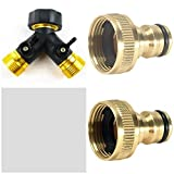 "Garden Mile® Solid Brass 2-Way Double Outside Garden Tap Adaptor & Hose Connectors 3/4"" Watering Flowering Gardening Multi-purpose With 2 Quick Release Female Adaptors."