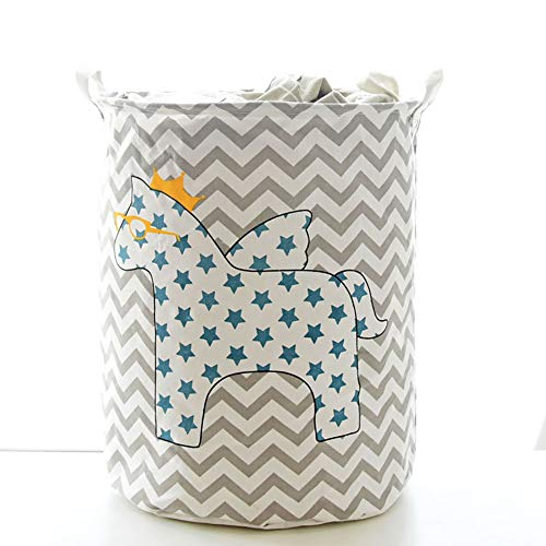 JYPHM Laundry Basket Cylinder Round Laundry Hamper Fabric Plastic Frame Laundry Basket Foldable with Handles Toys Clothes Storage Pentagram Horse