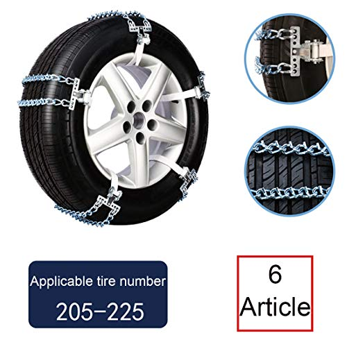 Schneekette, Rutschfeste, Verschleißfeste Notfall-Eisenkette Leicht Zu Montierende Universelle Anti-Rutsch-Reifenkette für Reifenbreiten Variieren Sie Die Form Der für SUV-Pick-Ups, 6Er-Set