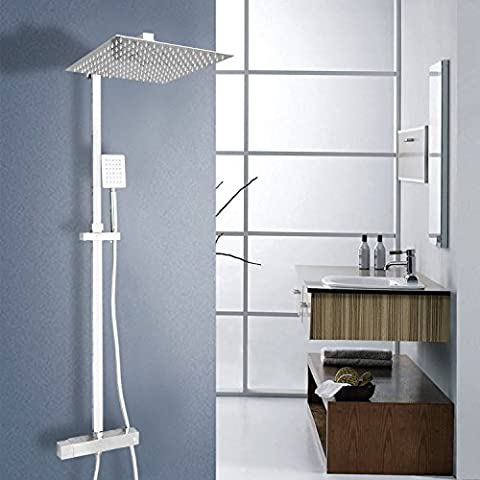 Vesuvio Livingstone Thermostatic Twin Head Mixer Shower Set with Square 12