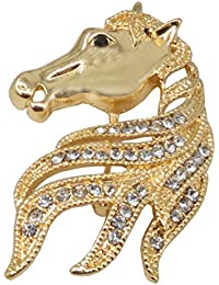 98669d56291 Sullery Vintage Silver Rhinestone Horse Head Brooch Pin Brooches for Men  Women