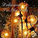 Catena Luminosa ACGAM,7.65M Stringa Luci Catene Luminose Impermeabile 25+2 G40 Lampadina Decorazione da Interno per Festa/Matrimonio/Giardino/Cortili/Pergole[Classe di efficienza energetica A]