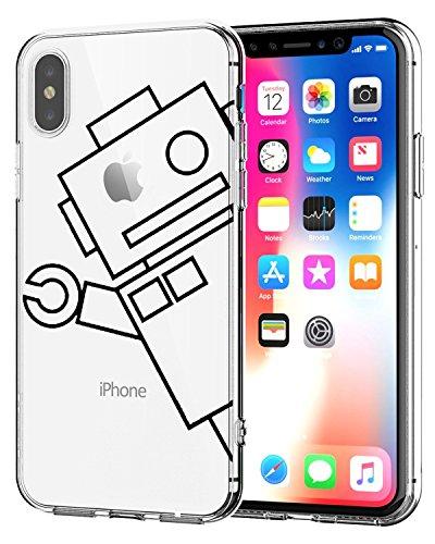 Cover iphone x trasparente iphone x silicone custodia silicone ultra simpatico panda disegno animale ultra slim custodia in silicone antiurto no-slip anti-graffio morbido per iphone x (robot)