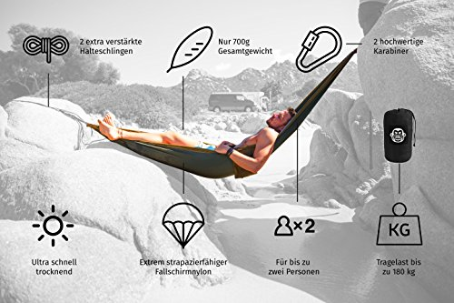 Monkey Swing Hängematte aus Fallschirm Nylon Ultra Light (275 x 140 cm, 180 kg Traglast) im Set mit Haltegut und Karabiner - 4