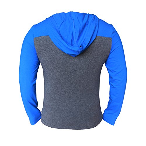 Alivebody Herren Longsleeve Kapuze Hoodie Muskelaufbautraining Sportshirt blue&grey With V Neck
