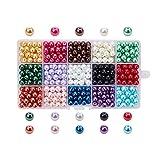 PandaHall - Lot de 1 Boite 15 Couleurs Perle en Verre Teint Environmental Perle Rond, Couleur Melangee, 8mm, Trou: 1mm, environ 510pcs/Boite