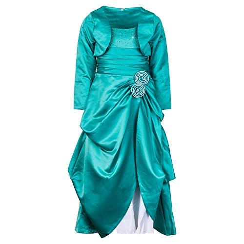 Damen oder Mädchen festliches Kleid Festkleid in vielen Farben (18 / XS / S, #139gn Grün)
