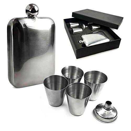 e-volve-hip-flask-6-oz-en-acier-inoxydable-classique-cadeauboitefixe-4-x-inc-shots-metalliques-et-un