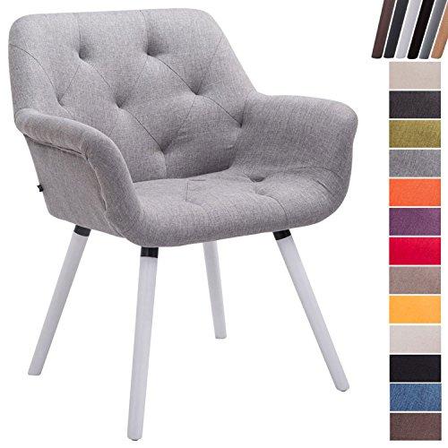 CLP Esszimmerstuhl CASSIDY mit Stoffbezug und sesselförmigem gepolstertem Sitz | Retro-Stuhl mit Armlehne und einer Sitzhöhe von 45 cm | Bis zu 150 kg belastbarer Polsterstuhl Grau, Gestellfarbe: Weiß (Esszimmerstuhl Gepolstert)