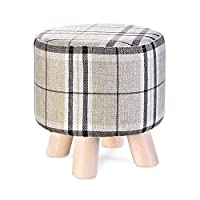 Vbndf Solid Wood Sofa Stool Linen Round Stool Creative Pattern Footstool Household Low Stool Living Room Small Stool Height 28 × Width 28cm A++ (Color : Stripe)
