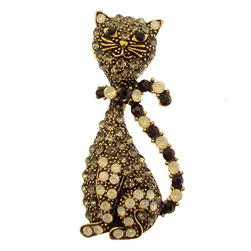 Acosta–stile vintage con ombra, nero opale e cristalli swarovski–moderno spilla a forma di gatto, in confezione regalo